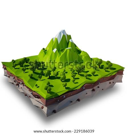 3D terrain - stock photo