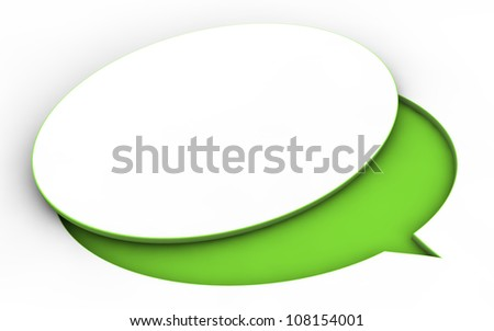 3D text bubble cut out from board from colorful material