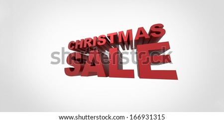 3d text Christmas sale isolated on white background