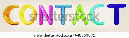 """3d text """"contact"""" on a white background. 3D illustration. Vintage style. - stock photo"""