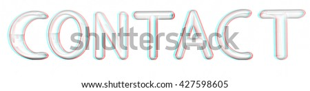 """3d text """"contact"""" on a white background. Pencil drawing. 3D illustration. Anaglyph. View with red/cyan glasses to see in 3D. - stock photo"""