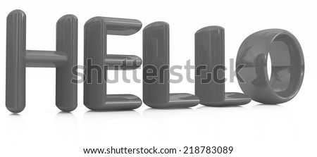 "3d text ""hello"" on a white background - stock photo"