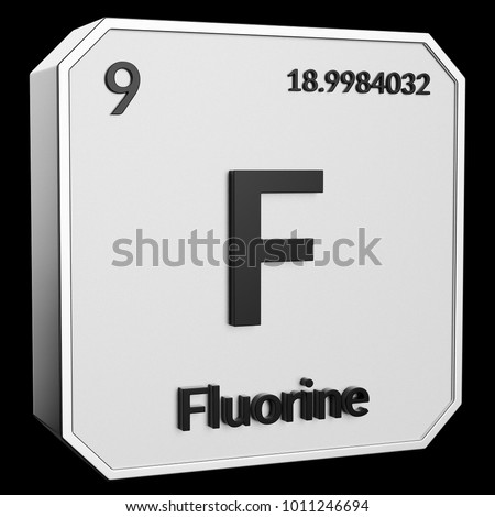 3 D Text Chemical Element Fluorine Atomic Stock Illustration