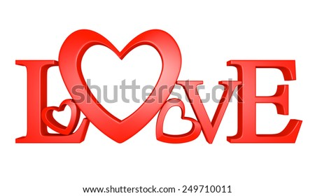 D Text Of The Word Love With One Letter Forming A Heart Shape