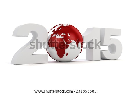 3d - 2015 text on white background - stock photo