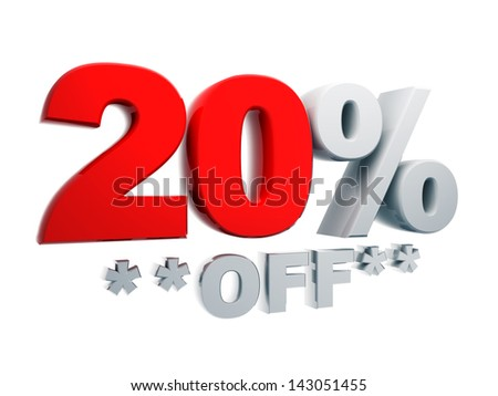 3d text percentage discount 20% off in isolated background with clipping paths include - stock photo