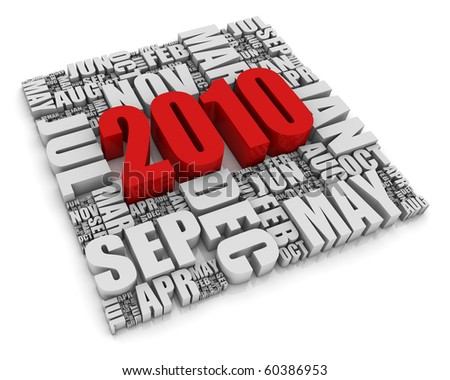 3D text representing the year 2010 and the twelve months. Part of a series of calendar concepts. - stock photo