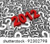2012 3D text surrounded by question marks. Part of a series. - stock photo