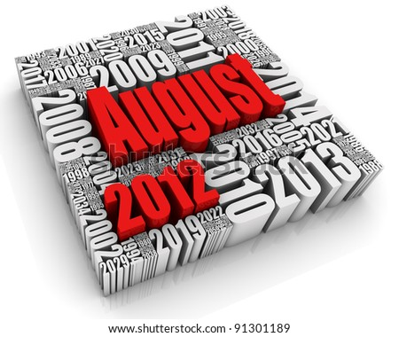 3D text with month surrounded by past and future dates. Part of a calendar set. - stock photo