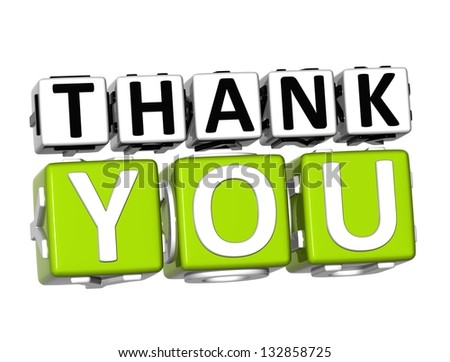 3D Thank You Button Click Here Block Text over white background - stock photo
