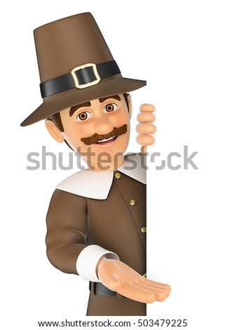 3d thanksgiving people illustration. Man pointing aside. Blank space. Isolated white background.