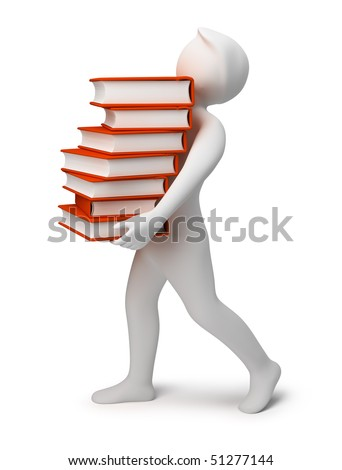 3d the person bearing books. 3d image. Isolated background. - stock photo