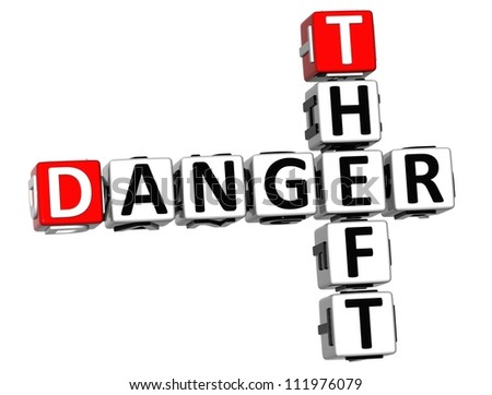 3D Theft Danger Crossword on white background - stock photo
