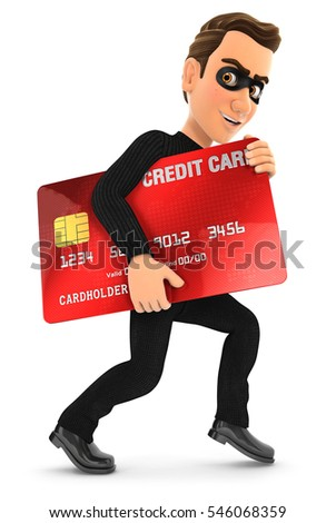 3d thief with a stolen credit card, illustration with isolated white background
