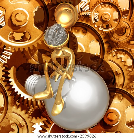 3D Thinking Gears Concept - stock photo