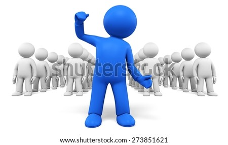 3D. Three-dimensional Shape, People, Leadership. - stock photo