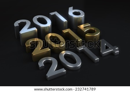 3D Three numbers or years changing from past to future year 2015 in golden on blackbackground - stock photo