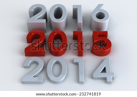 3D Three numbers or years changing from past to future year 2015 in red on white background - stock photo
