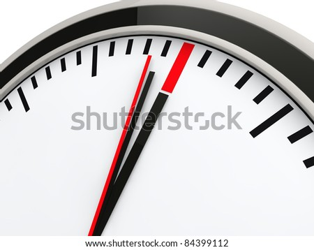 3d time clock deadline countdown red watch - stock photo