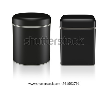 3D Tin Can black color product package type cylinder and square form design, object isolated