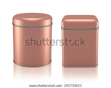 3D Tin Can copper color product package type cylinder and square form design, object isolated - stock photo