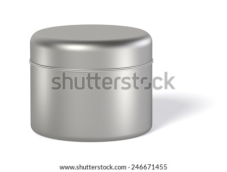 3D Tin Can silver color product package type cylinder design, object isolated - stock photo