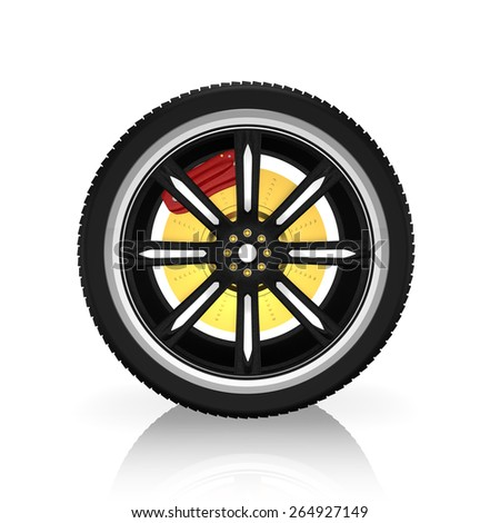 3d tire and alloy wheel  ,on white background - stock photo