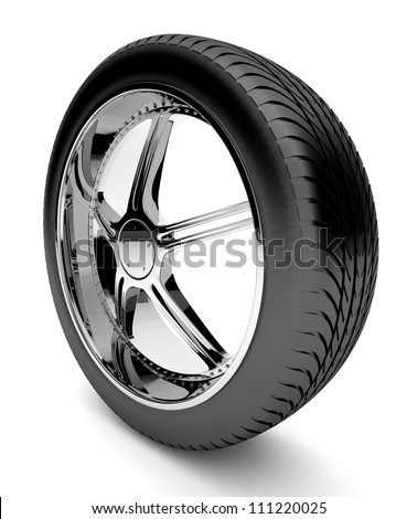 3d tire with forged disk, isolated on white background