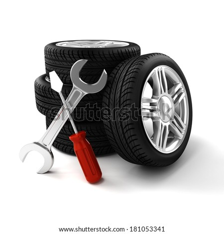 3d tires on white background - stock photo