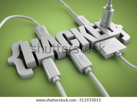 3D title of the word hacked has usb and data cables plugged into it extracting information. Concept for internet and phone hacking, hacking information and websites. - stock photo