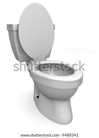3d toilet - stock photo