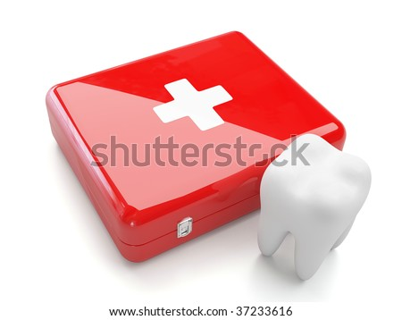 3d tooth with first aid kit isolated on white background