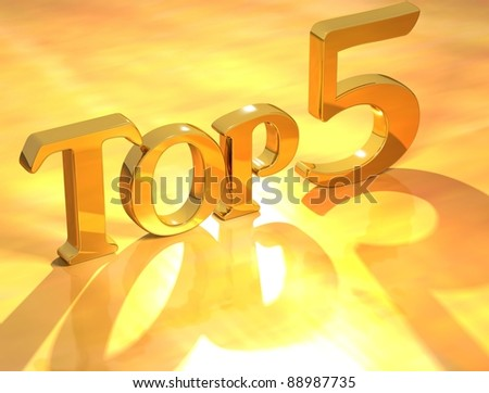3D Top 5 Gold Text on yellow background