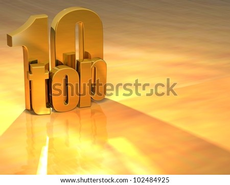 3D Top 10 Gold Text over yellow background - stock photo