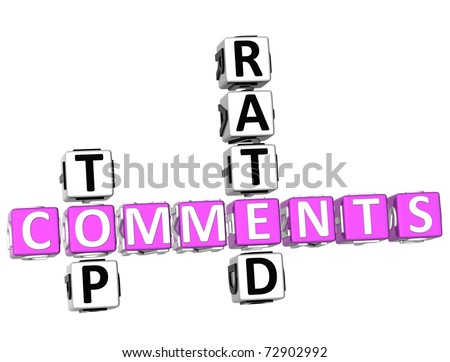 3D Top Rated Comments Crossword on white background - stock photo