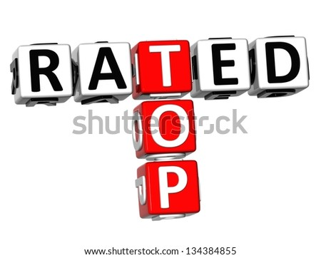 3D Top Rated Crossword on white background - stock photo