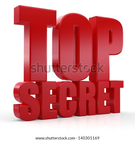 3d Top Secret text on white background - stock photo