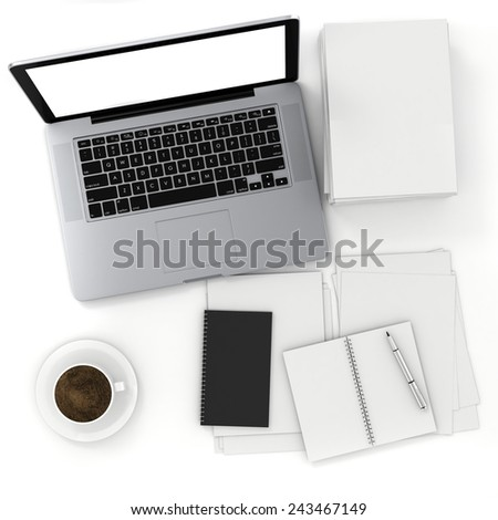 3d top view of an office desk with laptop and documents - stock photo
