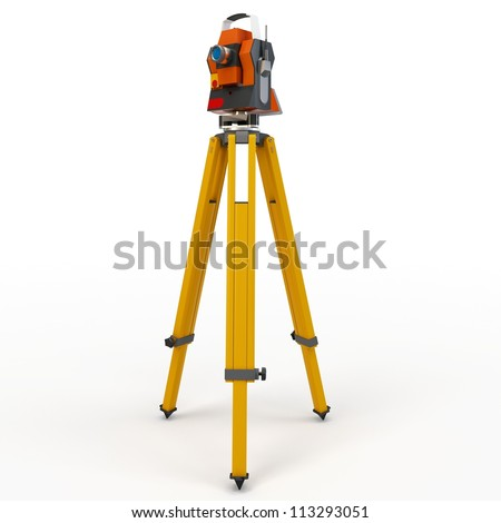 3d total station theodolite  isolated on white - stock photo