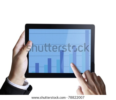 3d touchpad ,hand holding a touchpad pc with graph - stock photo