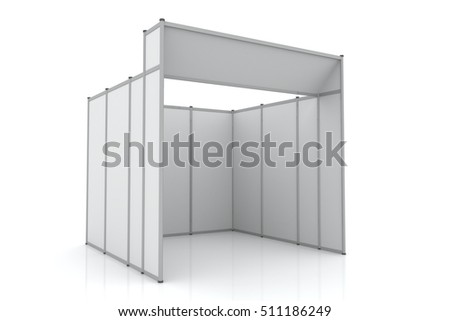 3D Trade Booth system Standard size 3x3 meters with Facade isolated on white background