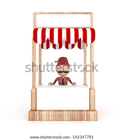 3d traditional human in the stand - ramadan concept