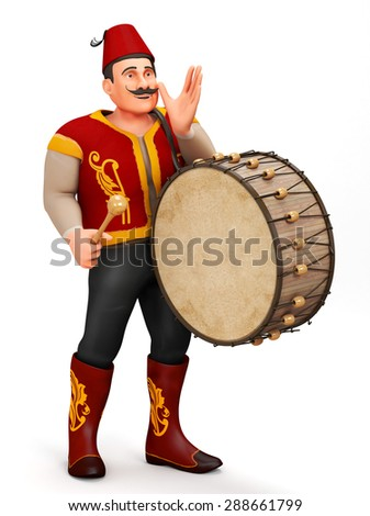 3D Traditional Ramadan Drummer announcing to people - stock photo