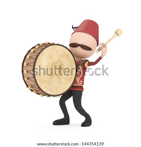 3D Traditional Ramadan Drummer isolated - stock photo