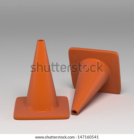3d traffic cone - stock photo