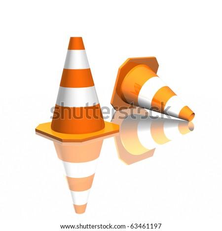 3d traffic cones - stock photo