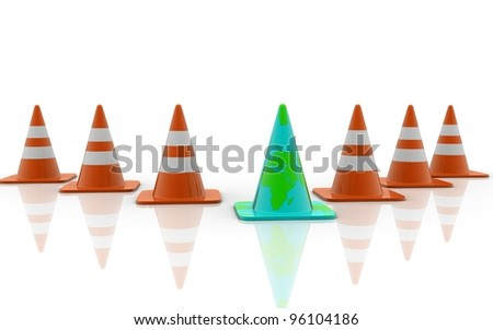 3d traffic cones concept isolated over white