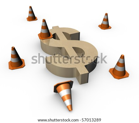 3d traffic cones with a big dollar sign - stock photo
