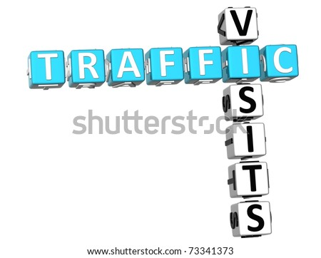 3D Traffic Visits Crossword on white background - stock photo
