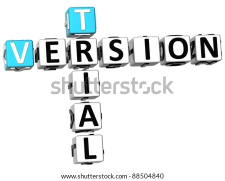 3D Trail Version Crossword on white background - stock photo